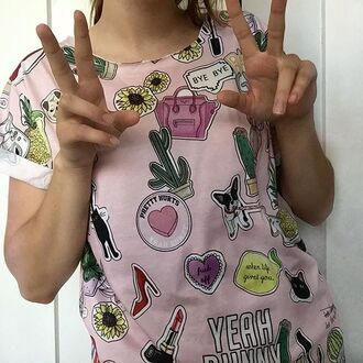 t-shirt yeah bunny stickers pink stickers attack girly tumblr