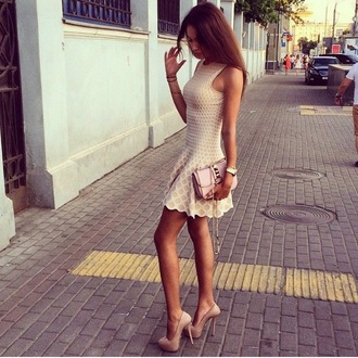 dress white tan heels grunge indie prep preppy hippie hipster classy pattern sundress tumblr