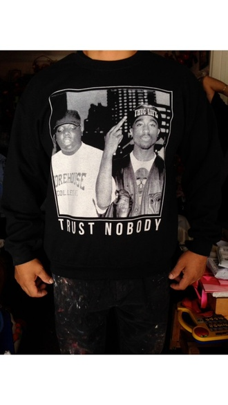 sweater crewneck tupac biggie smalls black