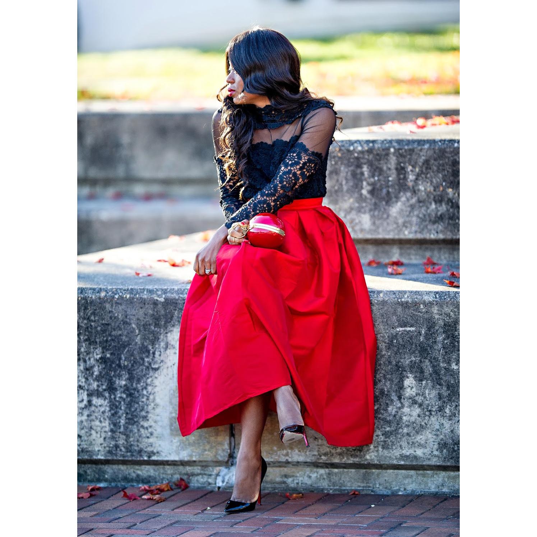 La diva pleated maxi full skirt in red