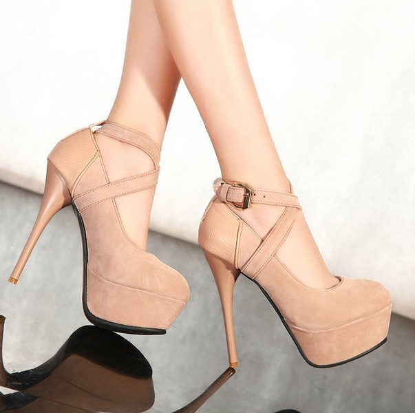 Fashion Womens Platform Pumps Strappy Buckle Stiletto High Heels ...