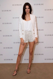 outfit,celebrity,kendall jenner,shoes,romper,cream,white,celebrities in white,shorts,top,sandals,blazer,jacket
