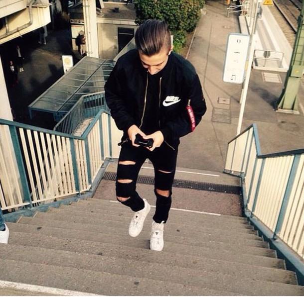 coat black nike biker jeans bomber jacket nike bomber jacket kanji japanese  jacket menswear chinese 8cfe8f4a052