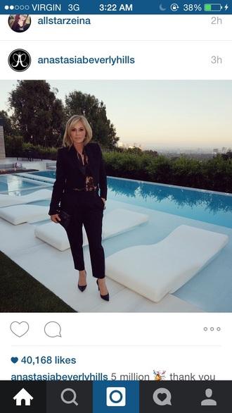 jumpsuit black kardashians blonde hair fashion style