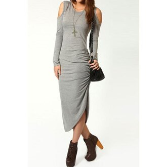 dress grey grey dress off the shoulder off the shoulder dress bodycon dress bodycon long sleeves bag college casual purse cross casual dress business casual
