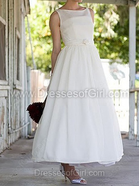 dress wedding dress wedding dressofgirl ankle lenght satin satin dress white bride flowers belt cute gorgeous sexy royal maxi dress midi dress princess wedding dresses