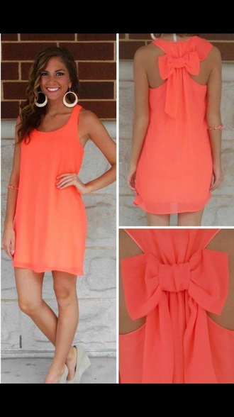 dress coral dress bow back dress