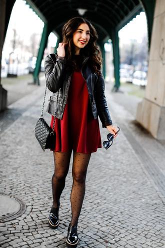 samieze blogger dress jacket shoes tights bag sunglasses