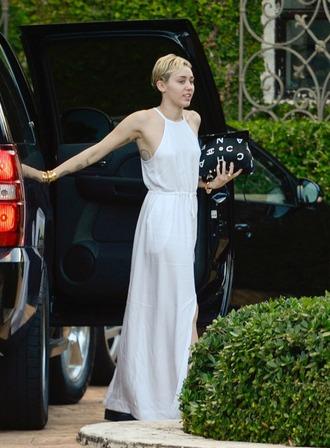 miley cyrus white dress halter dress