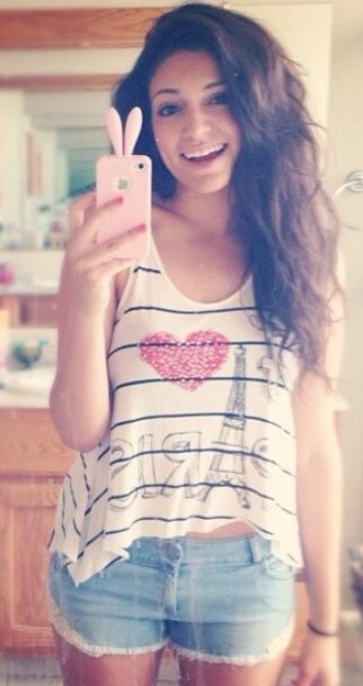 bethany mota i love paris paris tank top phone cover shirt