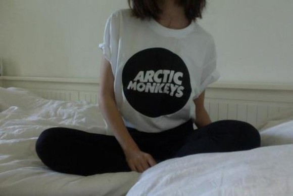shirt t-shirt arctic monkeys band t-shirt tumblr black logo grunge soft grunge white bands circle hipster tumblr clothes black and white graphic t-shirt arctic monkeys, band t-shirt, black, white