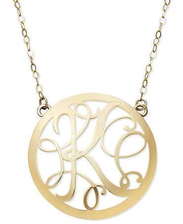 14k Gold Necklace, Letter K Scroll Pendant - Necklaces - Jewelry & Watches - Macy's