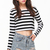 Black White Striped Long Sleeve Crop T-Shirt - Sheinside.com