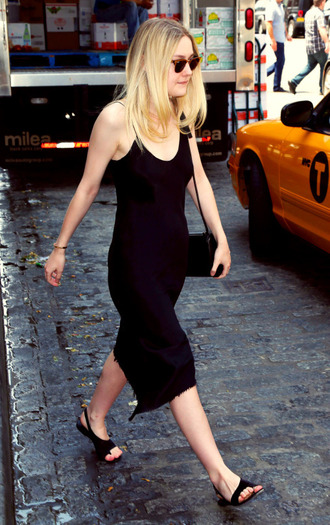 dress midi dress black all black everything dakota fanning sandals