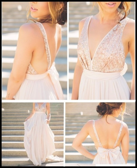 dress beige cream bow prom long sparkly low back straps long dress glitter fancy pink white prom dress white dress long prom dresses sparkles pink dress flowy