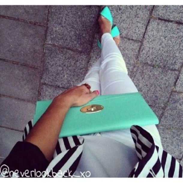 shoes bag purse high heels fashion style glamour limegreenshoes mint black white beautiful