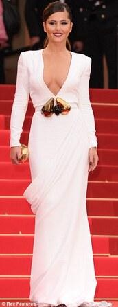 dress,cheryl cole,white dress,v neck,floor length dress,lomgsleeved,celebrity style,cannes 2013