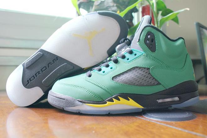 Michael Jordan V 5 Oregon Ducks Green Apple/Yellow Strike/Black (GS