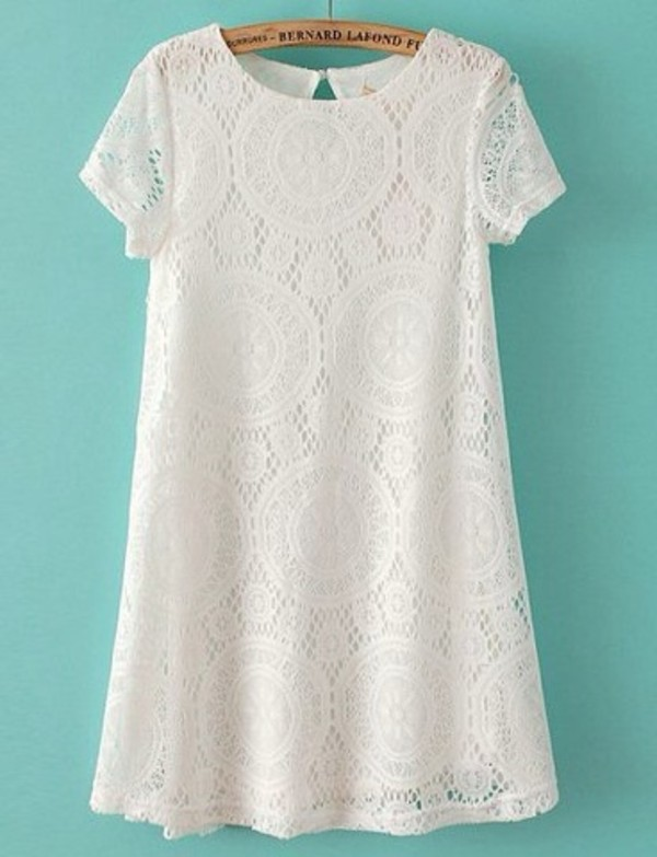 dress white lace t-shirt dress pretty girly lace floral