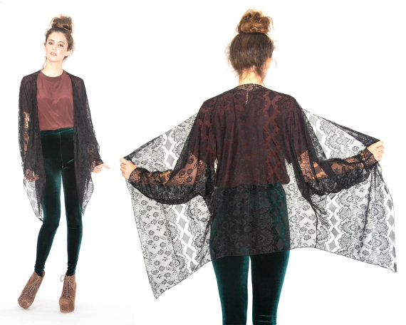 Avant Garde Gypsy Black Lace Kimono Cardigan Jacket by Ragabond