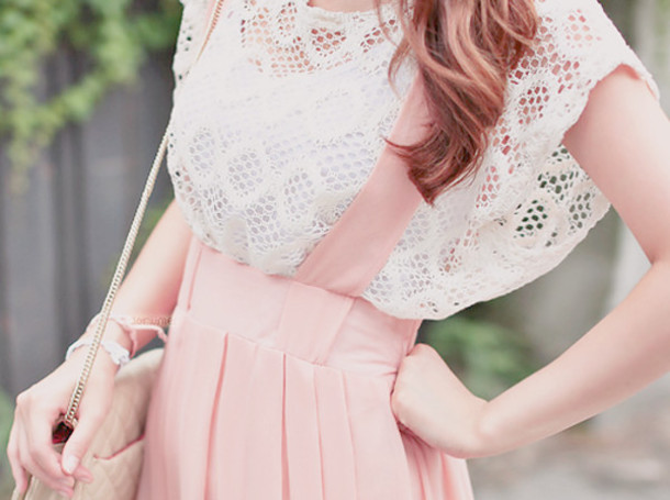 skirt skirt with suspenders pink cute summer outfits