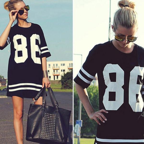 jersey jersey dress jersey tee shirt shirt dress black american style fashion hot sexy