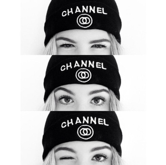 hat beanie chanel chanel inspired grunge swag cute