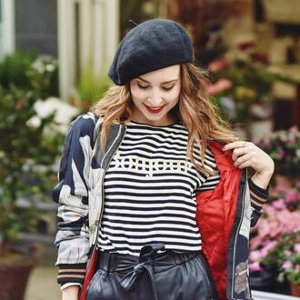 top french girl hat beret black hat stripes striped top jacket