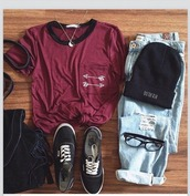 shirt,arrow,t-shirt,black,shoes,bag,top,indie,ripped jeans,beanie,vans,yin yang,necklace,boho,hippie,hipster,grunge,outfit,summer,spring,tumblr,weheartit,hat,jeans,shorts,jumpsuit,jewels,red,arrows,pockets,arrow shirt,pocket t-shirt,burgundy top,backpack,pants