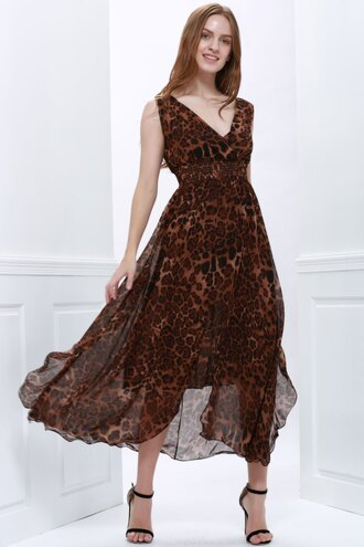 dress leopard print fashion style brown trendy flowy summer gamiss
