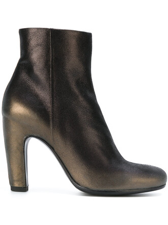 women boots ankle boots leather grey metallic shoes