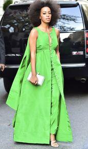 dress,green,solange knowles,maxi dress,pants