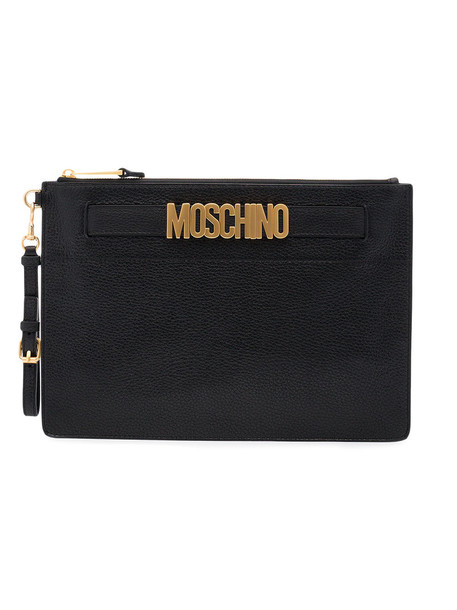 Moschino women clutch leather black bag