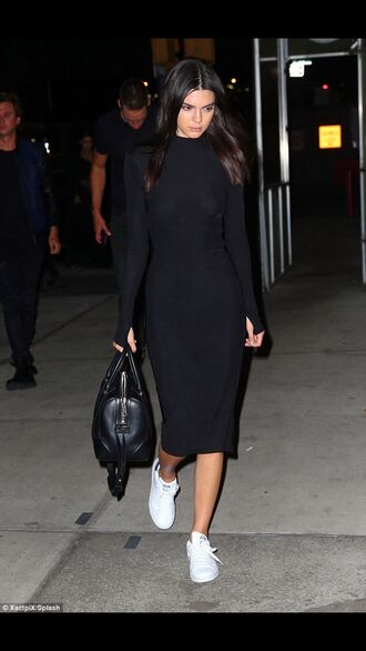 dress kendall jenner midi dress black midi dress black dress bodycon dress long sleeves long sleeve dress sneakers white sneakers low top sneakers bag black bag celebrity style celebrity model model off-duty black midi bodycon party dress sexy party dresses sexy sexy dress party outfits sexy outfit fall dress fall outfits winter dress winter outfits classy dress elegant dress cocktail dress cute cute dress girly girly dress date outfit birthday dress holiday dress clubwear club dress celebstyle for less kardashians kendall and kylie jenner keeping up with the kardashians