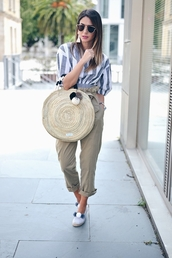 pants,tumblr,khaki,khaki pants,cropped pants,capri pants,bag,round tote,tote bag,top,crop tops,stripes,striped top,jewels