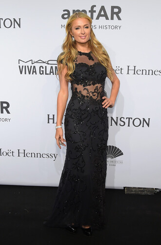 gown paris hilton sheer red carpet dress