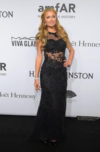 gown paris hilton sheer red carpet dress black dress prom dress