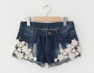 Pretty Crocheted Lace Denim Short, ..
