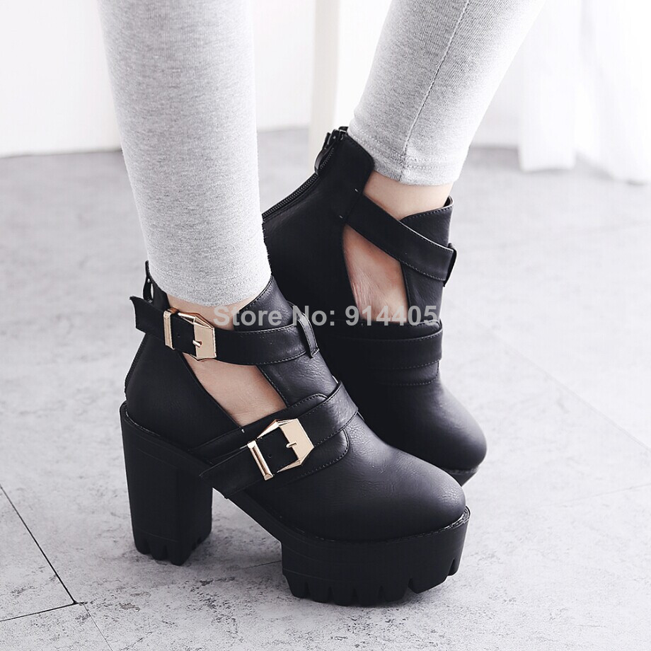 Women's Platform Ankle Motorcycle Boots Shoes Autumn 2014 New Fashion Black Leather Buckles Thick High Heels Sapatos Femininos-inBoots from Shoes on Aliexpress.com