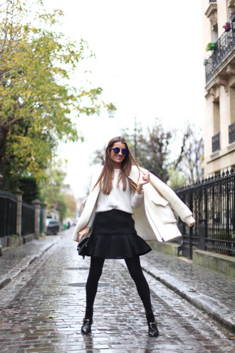 b a r t a b a c blogger shoes sweater sunglasses winter coat winter outfits black skirt