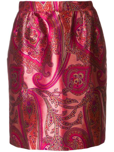 Yves Saint Laurent Vintage skirt women silk purple pink paisley