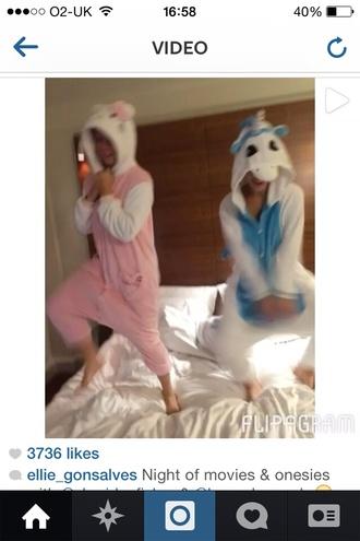 cute blue pink pastel onesie grunge pajamas unicorn coat