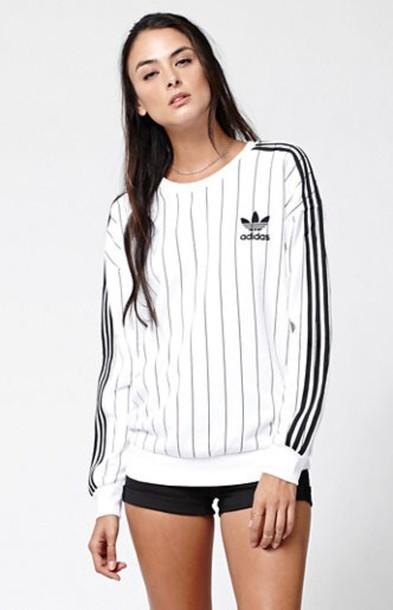 Sweater white black sweatshirt adidas stripes for Black sweater white shirt