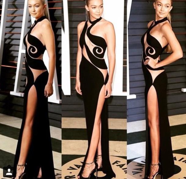 dress gigi hadid black dress oscars 2015 oscars vanity fair