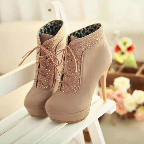 shoes high heels sparkle booties lace up tan classy cute boot heel covered closed toe ankle boots brown high heels cute high heels beige high heels glitter shoes cute shoes