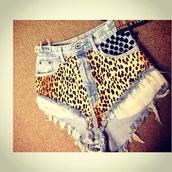 shorts,leopard print,studs,cut off shorts
