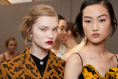 make-up,face makeup,red lipstick,natural makeup look,model,dior,fashion week 2016,asian,statement earrings,mustard,rust,embellished