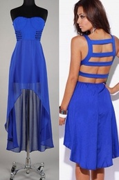 dress,royal blue,high low,chiffon