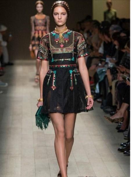 dress black dress sheer black dress ethnic pattern embroidered embroidered