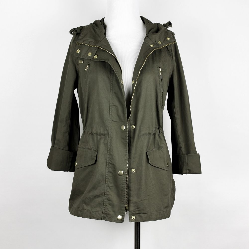 New women's utility jacket army olive green military hoodie